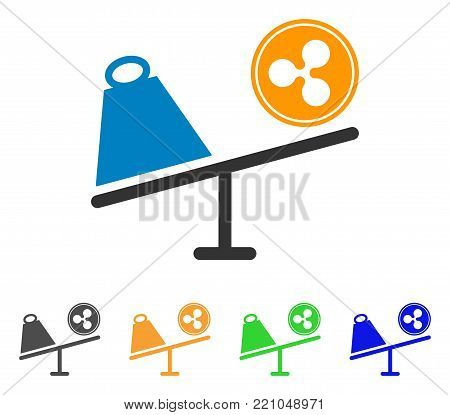 Ripple Coin Trade Swing icon. Vector illustration style is a flat iconic ripple coin trade swing symbol with grey, yellow, green, blue color versions. Designed for web and software interfaces.