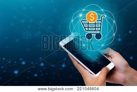 Transactio payment technology making online mobile phone phone hand Businesspeople press the phone to order or pay in the Internet.payment internet shop makes online shopping