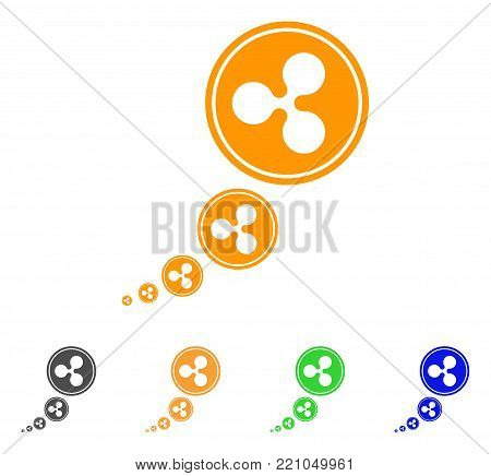 Ripple Inflation icon. Vector illustration style is a flat iconic ripple inflation symbol with grey, yellow, green, blue color versions. Designed for web and software interfaces.
