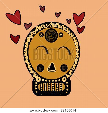 skull in love ironic icon. dead love style