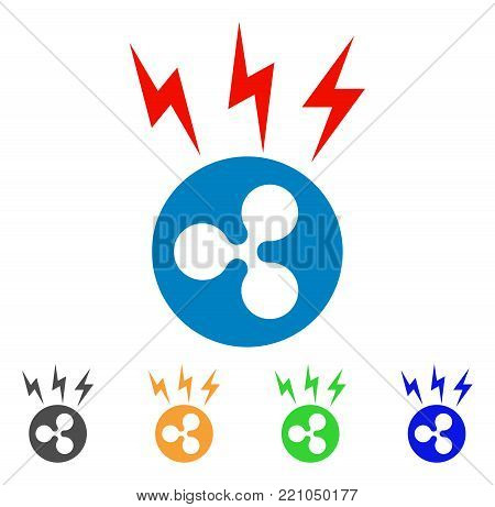 Ripple Lightnings icon. Vector illustration style is a flat iconic ripple lightnings symbol with gray, yellow, green, blue color variants. Designed for web and software interfaces.