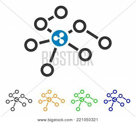 Ripple Network Nodes icon. Vector illustration style is a flat iconic ripple network nodes symbol with grey, yellow, green, blue color versions. Designed for web and software interfaces.