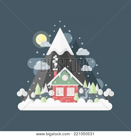 Flat design vector nature winter landscape illustration with house, moon, mountains,  trees, snow, snowflakes, snowfall, snowdrift, icicles. Cartoon snow home, mountain lodge, snowy building by night.