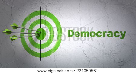 Success political concept: arrows hitting the center of target, Green Democracy on wall background, 3D rendering