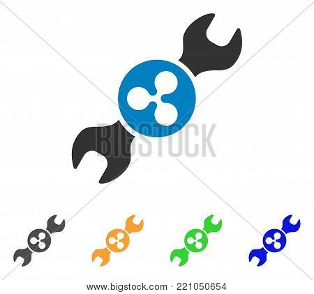 Ripple Repair Wrench icon. Vector illustration style is a flat iconic ripple repair wrench symbol with gray, yellow, green, blue color variants. Designed for web and software interfaces.