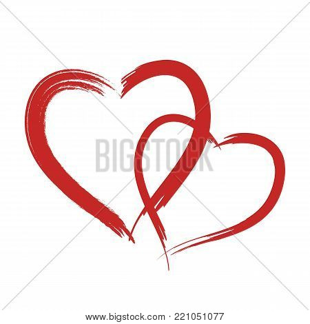 Red vector grunge heart shape textured on white background. Painting brush with border. Sketch for  Valentine. Vector Heart shape frame with brush painting isolated on white background