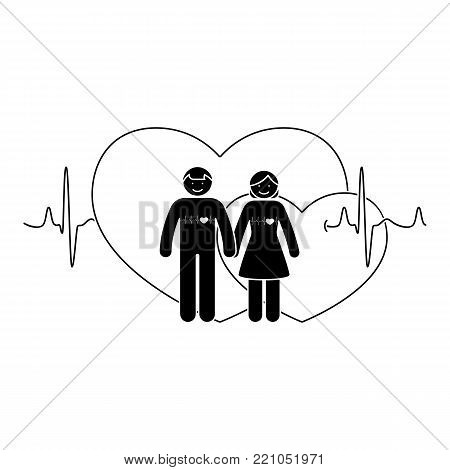 Stick figure couple. Man and woman in love vector illustration. Boyfriend and girlfriend holding hands pictogram icon on double heart shapes and cardiogram background