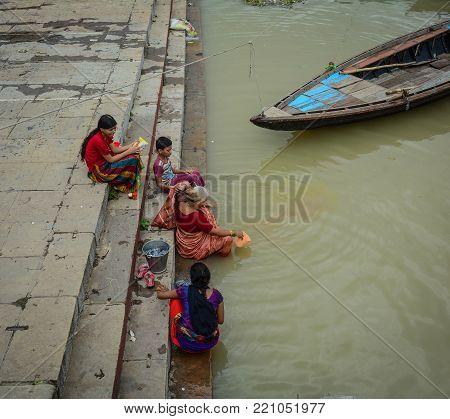 People Bathing On Ganges River