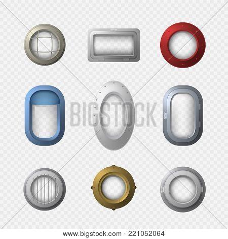 Realistic Detailed 3d Portholes Icons Set Different Types Window Frame Isolated on White Background. Vector illustration of Porthole Icon