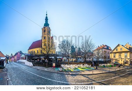 Amazing panorama of old town Samobor in Northern Croatia, traditional baroque architecture.