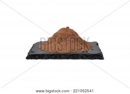 Colorful and crisp image of bowl with cocoa powder on shale and white