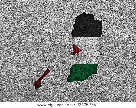 Colorful and crisp image of map and flag of Palestine on poppy seeds