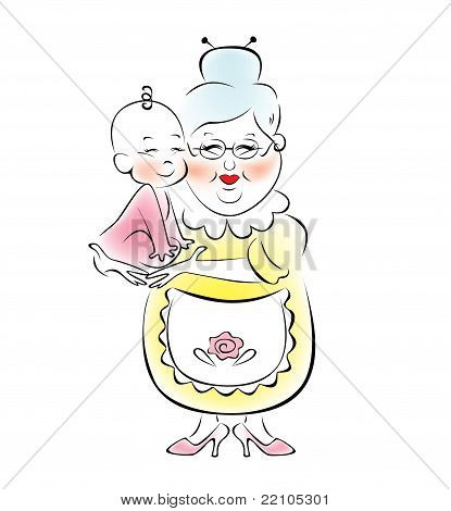 Illustration of grandmother, who is holding a small child.