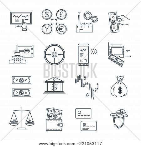 set of thin line icons business, finance, money, target