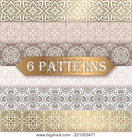 6 pretty pastel vector seamless patterns. Infinite texture can be used for wallpaper fills web background texture.