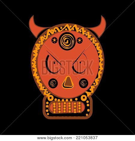 scary skull graphic illustration. Demonic infernal creature, horned wicked Baphomet symbol.