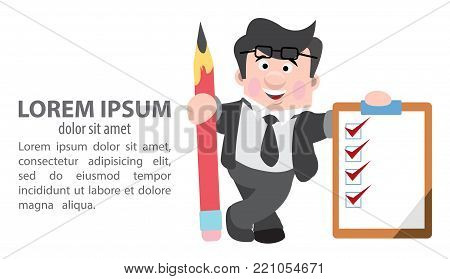 Journalist holding a pencil and folder. Vector illustration