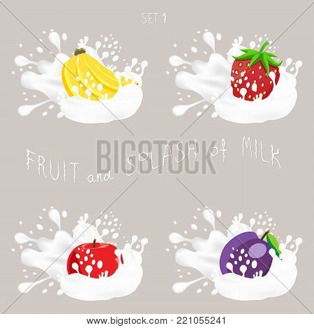 Vector icon illustration logo for fruit apple, banana, plum, strawberry, splash of drop white milk. Plum pattern of splashes drip flow Milk. Eat fruits apples, bananas, plums, strawberries in milks.