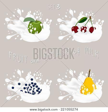 Vector icon illustration logo for fruit apple, cherry, pear, blueberry, splash of drop white milk. Pear pattern of splashes drip flow Milk. Eat sweet fruits apples, cherries,pears,blueberries in milks