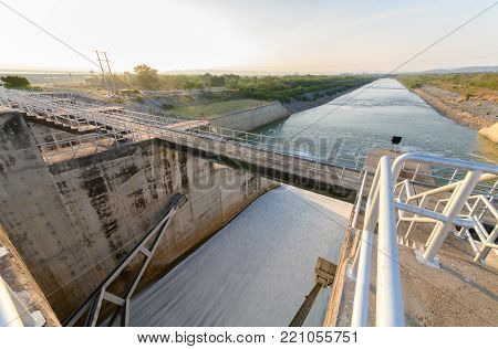 Construction Of Spillway Dam Gate On Night, The Pa Sak Cholasit Dam