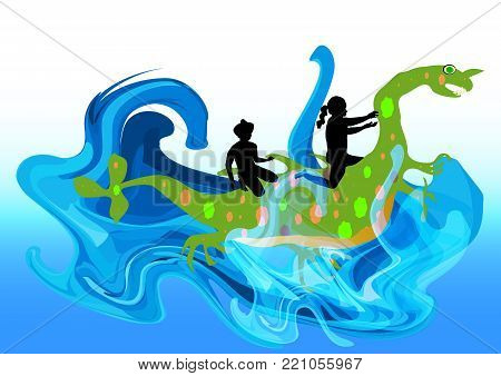 Two children and a water monster in turbulent waves. Cute water dragon with boy and girl in the water