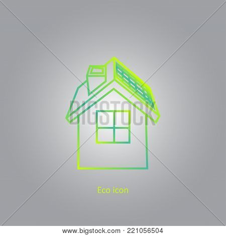 Vector simple eco related outline icon. Eco house. Isolated design element in trendy gradient style. Eco concept for print or infographic. Green house concept.