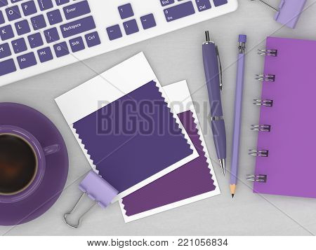 3d render of top view of stationery and textile color swatches lying on wooden desk. Ultra violet. Color of the year 2018.