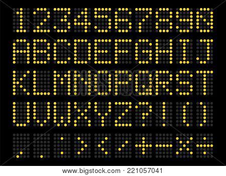 Led digital alphabet. Bright yellow electronic number and alphabet digital display, letters and symbols. Vector flat style cartoon illustration on black background