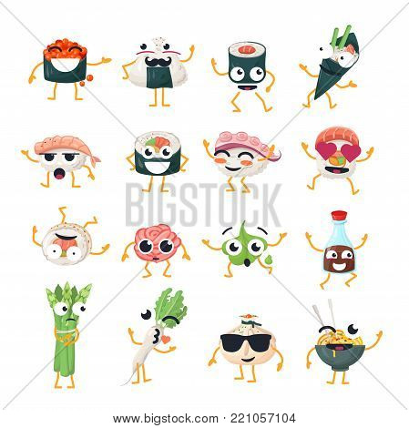 Funny sushi and wok - vector isolated cartoon emoticons. Cute emoji set with a nice character. A collection of an angry, surprised, happy, crazy, laughing, sad Asian food on white background