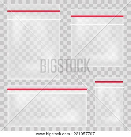Empty transparent plastic pocket bags. Blank vacuum zipper bag. polythene container set on the transparent background. Vector illustration.