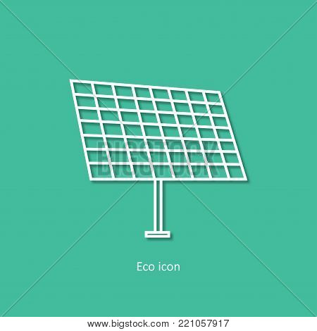 Vector simple eco related outline 3d icon of solar panel. Alternative renewable electricity generation. Isolated solar panel design element in trendy paper art style . Eco concept for infographic