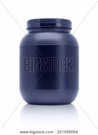 blank packaging whey protein blue plastic bottle isolated on white background with clipping path