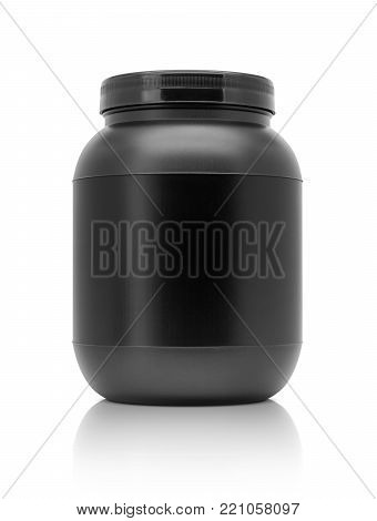 blank packaging whey protein black plastic bottle isolated on white background with clipping path