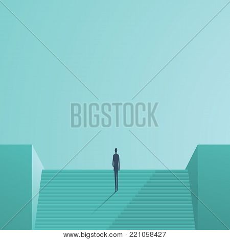 Business career development vector concept. Symbol of corporate ladder climbing, success, achievement and progress. Eps10 vector illustration.