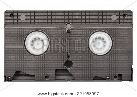 Retro black video cassette, rear side isolated on white background