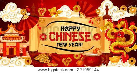 Chinese lunar New Year greeting banner of wish text on paper scroll and golden dragon with traditional ornaments and decorations. Vector fireworks and clouds, Chinese golden coins, drum and temple