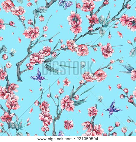 Watercolor spring vintage floral seamless pattern with pink blooming branches of cherry peach, pear, sakura, apple trees and butterflies, flower botanical illustration on blue background