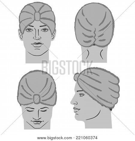 Turban or shower cap outlined oil pastel template sketch (front, back, side views) and man head, vector illustration isolated on white background
