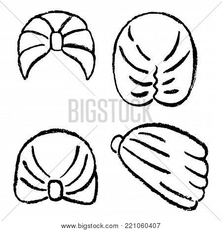 Turban or shower cap outlined oil pastel template sketch (front, back, side views), vector illustration isolated on white background