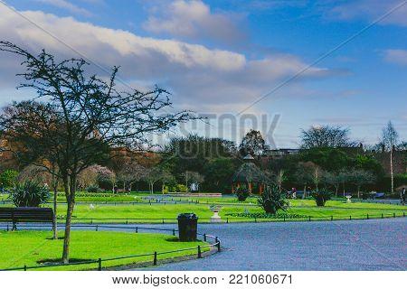 DUBLIN, IRELAND - January 6th, 2018: Saint Stephen's Green park in Dublin city centre on a calm and cold winter day