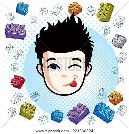 Boy face, vector human head illustration. Brunet kid making funny grimace.