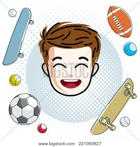 Cute boy face, human head. Vector redhead character, smiling toddler face features, sport and entertainment clipart.