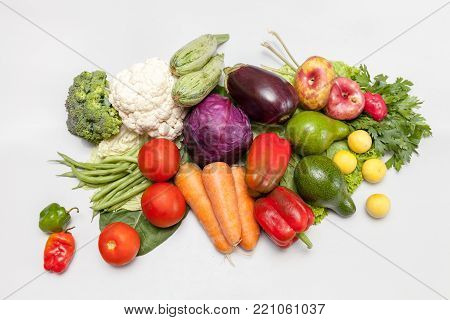 Bunch of fresh vegetables. Environmentally friendly and safe. A variety of vitamins and mineral nutrients. stock photo