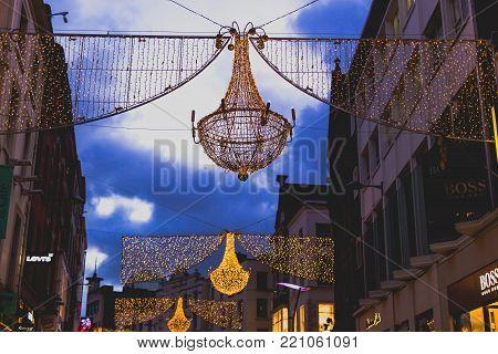 DUBLIN, IRELAND - January 6th, 2018: Grafton Street in Dublin city centre with festive Christmas decorations