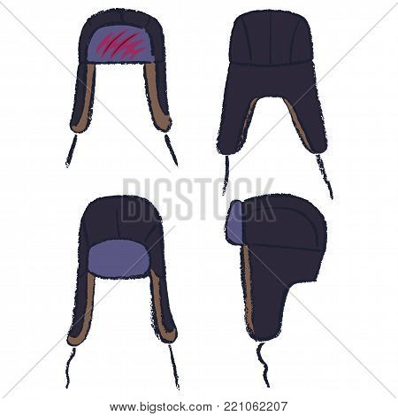 Ushanka russian winter hat and man head outlined oil pastel template sketch (front, back and side views), vector illustration isolated on white background