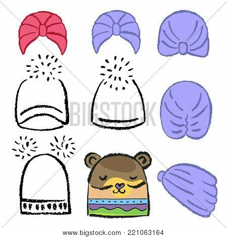 Turban or shower cap, knitted hat outlined oil pastel template sketch (front, back, side views), vector illustration isolated on white background
