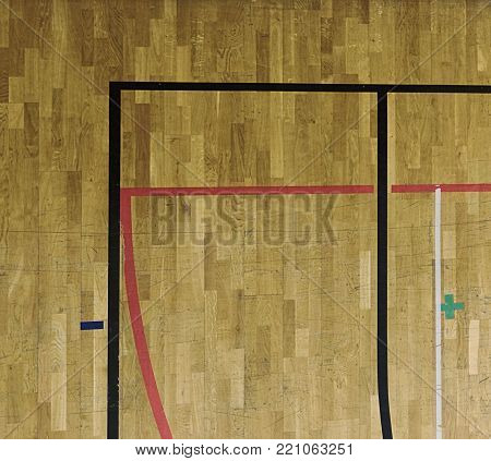 White, Black Red Lines, Green Playfield In Sporting Hall. Renewal Wooden Floor Of Sports Hall