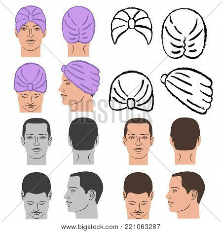 Turban or shower cap outlined oil pastel template sketch set (front, back, side views) and man head, vector illustration isolated on white background