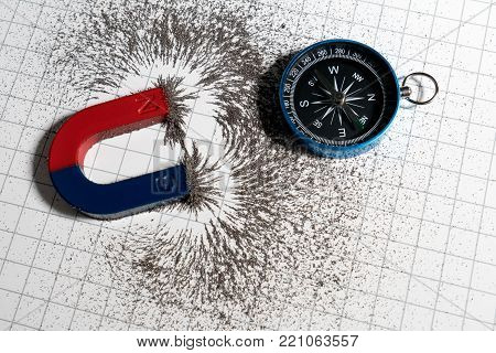 Red And Blue Horseshoe Magnet Or Physics Magnetic And Compass With Iron Powder Magnetic Field On Whi