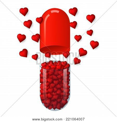 capsule with hearts inside, 3D vector isolated on white background. Pill with red hearts on a light background. Concept for St. Valentine's Day pill with hearts, love tablet